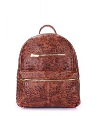 Рюкзак женский кожаный POOLPARTY Mini mini-bckpck-leather-croco-brown
