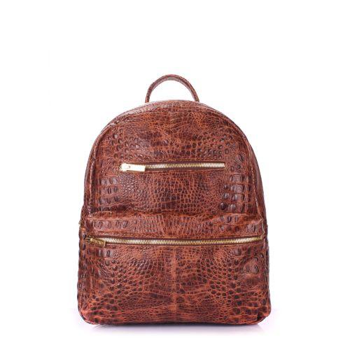 Рюкзак женский кожаный POOLPARTY Mini mini-bckpck-leather-croco-brown