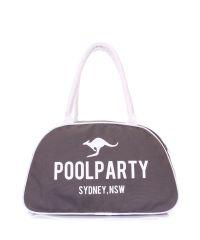 Коттоновая сумка-саквояж POOLPARTY pool-16-white-grey