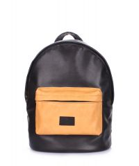 Рюкзак женский POOLPARTY backpack-pu-black-orange