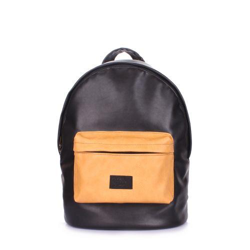 Рюкзак женский POOLPARTY backpack-pu-black-orange