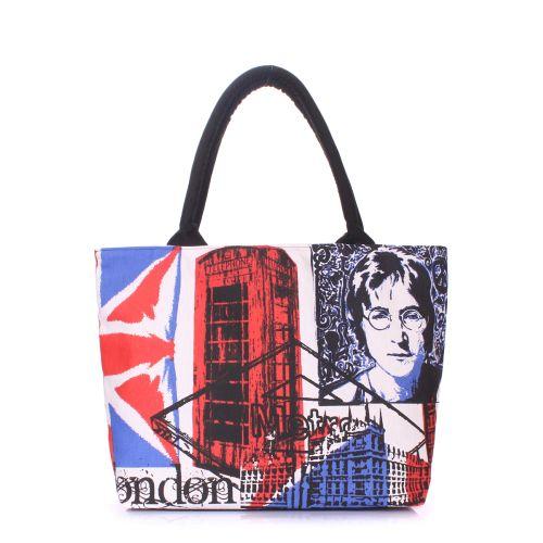 Коттоновая сумка POOLPARTY с трендовым принтом pool-britain