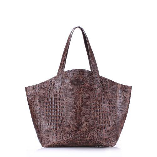 Кожаная сумка poolparty-fiore-crocodile-brown