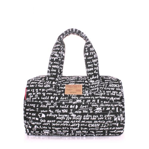 Коттоновая сумка POOLPARTY sidewalk-signature-black