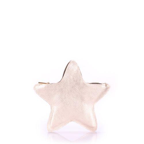 Кожаный клатч-косметичка POOLPARTY STAR star-gold