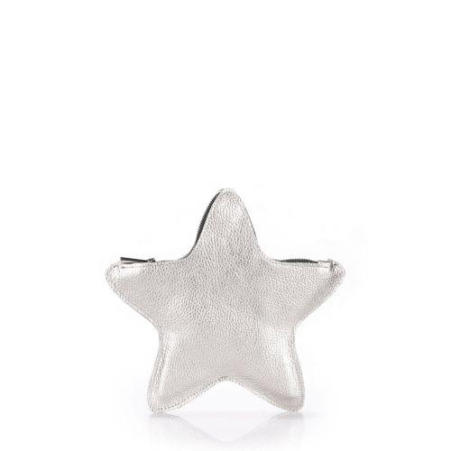 Кожаный клатч-косметичка POOLPARTY STAR star-silver