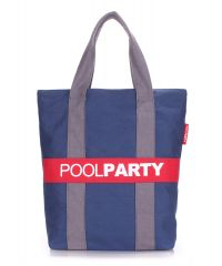 Коттоновая сумка POOLPARTY pool-82-darkblue-grey-red