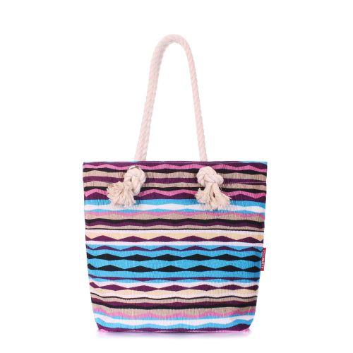 Пляжная вельветовая сумка в полоску POOLPARTY anchor-rasta-blue