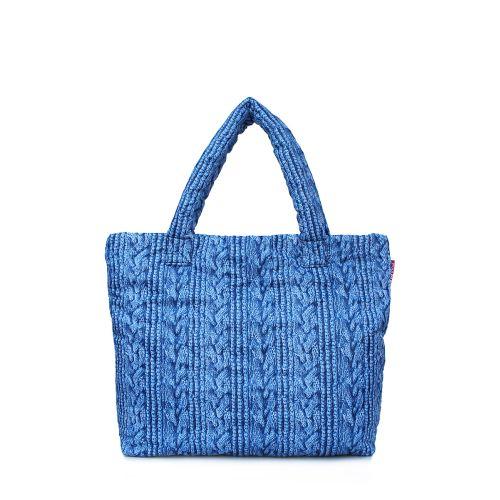 Дутая сумка POOLPARTY с вязкой pool-68-blue-sweater