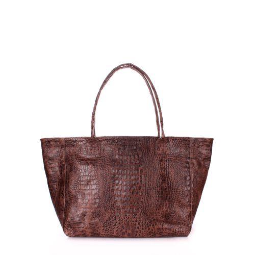 Кожаная сумка POOLPARTY Desire poolparty-desire-croco-brown