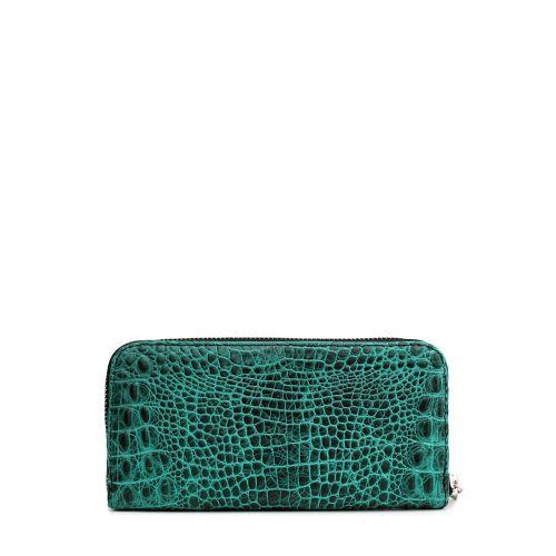 Кожаный кошелек POOLPARTY crocodile-wallet-green