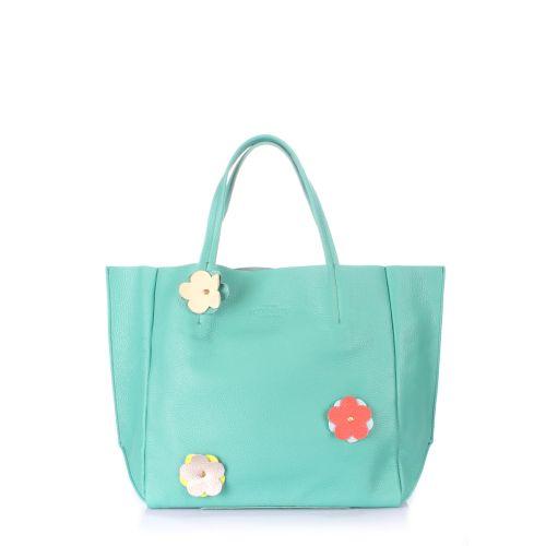 Кожаная сумка POOLPARTY Soho Flower soho-flower-mint