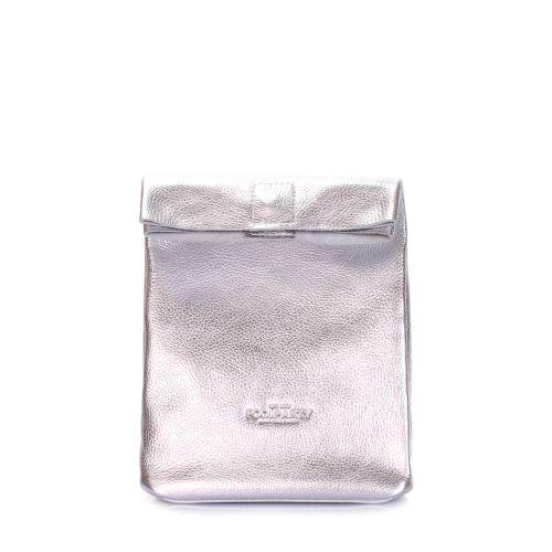 Кожаная сумка-клатч POOLPARTY Lunchbox lunchbox-silver