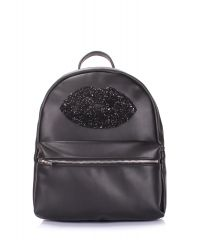 Рюкзак женский POOLPARTY Mini mini-lips-black-new