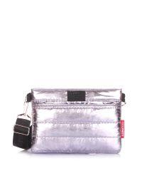 Стеганая сумка POOLPARTY Puffer на пояс/на плечо puffer-silver