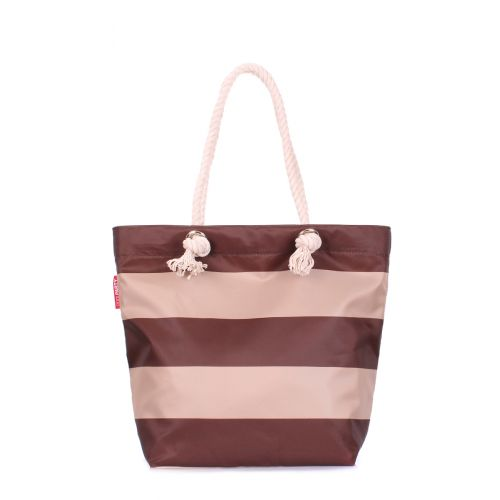 Пляжная сумка POOLPARTY anchor-stripes-brown коричневая