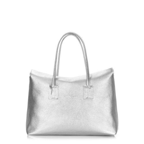 Женская кожаная сумка POOLPARTY sense-silver серебристая