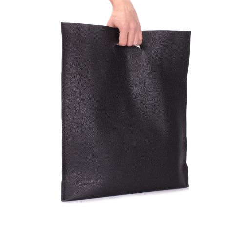 Женская кожаная сумка POOLPARTY shopper-leather-black черная