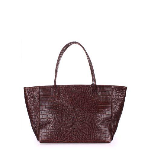 Женская кожаная сумка poolparty-desire-caiman-brown коричневая