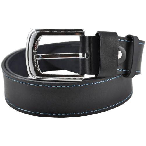 Кожаный ремень 76-31 черный со строчкой 4 см