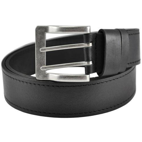 Мужской кожаный ремень с двойной пряжкой 76-30 черный 4 см