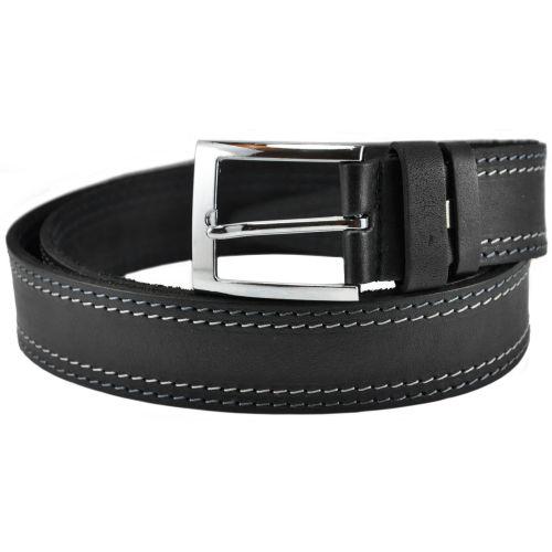 Мужской кожаный ремень с 2 строчками 76-26 черный 3.5 см