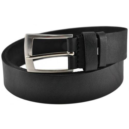 Классический кожаный ремень 76-24 черный 3.5 см