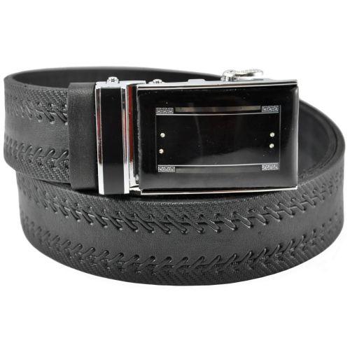 Мужской кожаный ремень 76-23 комбинированный черный 3.5 см