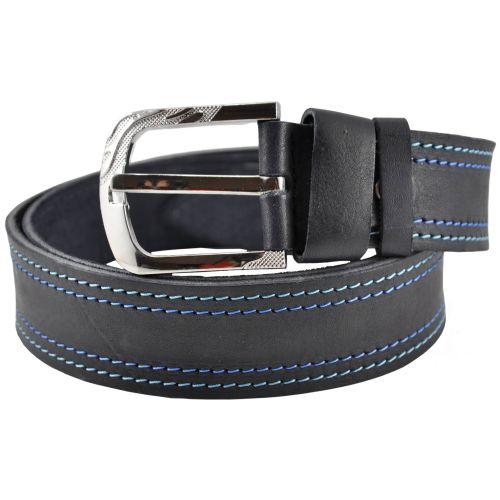 Кожаный ремень 76-18 с сине-голубой строчкой черный 4 см