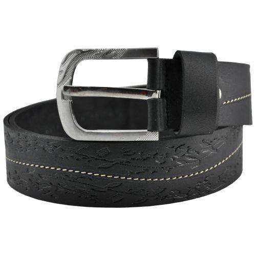 Женский кожаный ремень 76-12 веточки черный 4 см