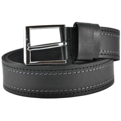 Кожаный ремень 75-98 серые строчки черный 4 см