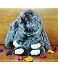 Меховой брелок кролик черный с белым