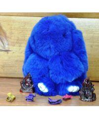 Меховой брелок кролик синий