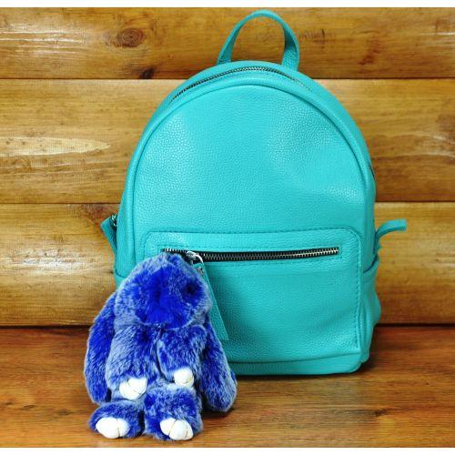 Меховой брелок кролик синий с белым
