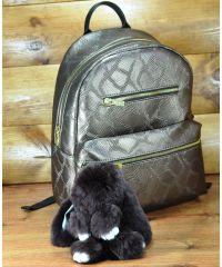 Меховой брелок кролик коричневый