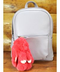 Меховой брелок кролик коралловый