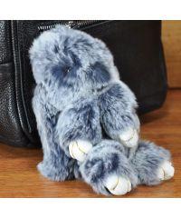 Меховой брелок кролик серый с белым