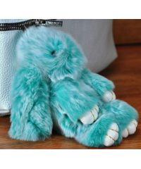 Меховой брелок кролик голубой с белым