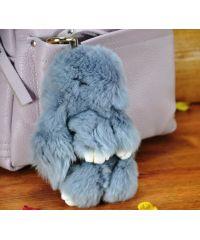 Меховой брелок кролик светло-серый