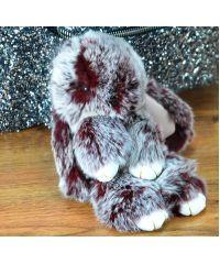 Меховой брелок кролик марсала с белым