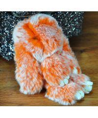 Меховой брелок кролик оранжевый с белым