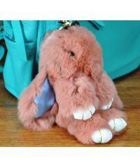 Меховой брелок кролик персиковый
