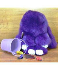 Меховой брелок кролик фиолетовый