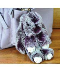 Меховой брелок кролик фиолетовый с белым
