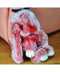 Меховой брелок кролик красный с белым