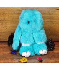 Меховой брелок кролик бирюзовый
