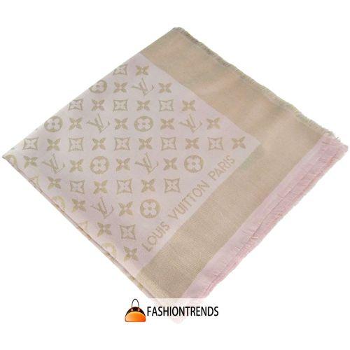 Шаль Louis Vuitton Metal розовая с золотом