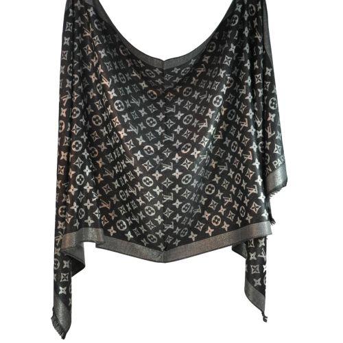 Палантин Louis Vuitton черный с серебром