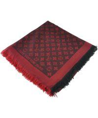 Шаль Louis Vuitton красная с черным