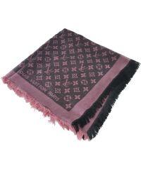 Шаль Louis Vuitton розовая с черным